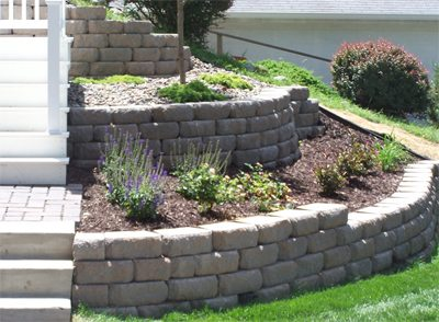 Landscape design and installation for bloomington and coon for Retaining wall plants landscaping